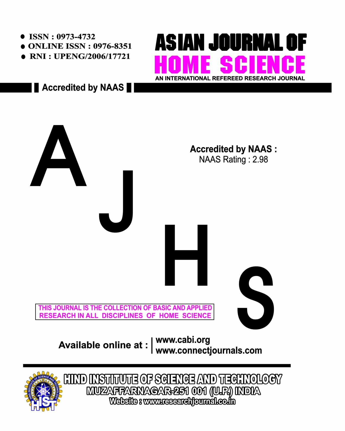 Asian J. Home Sci.
