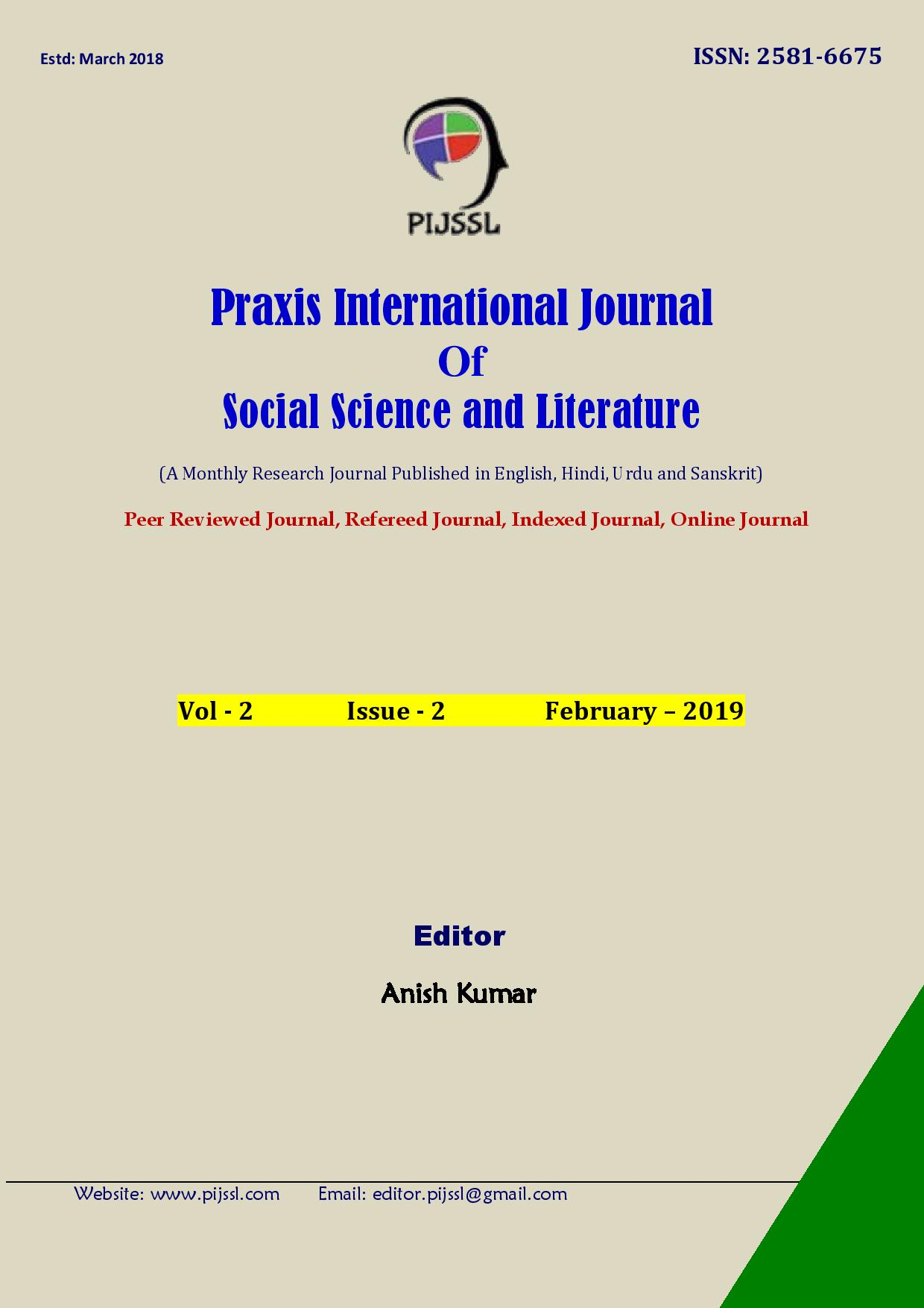 A Monthly Research Journal Published in English, Hindi, Urdu and Sanskrit